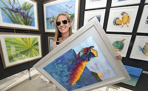 Lowe displays some of her work at the January Islamorada Fine Art Expo. Photo by Andy Newman/Florida Keys News Bureau